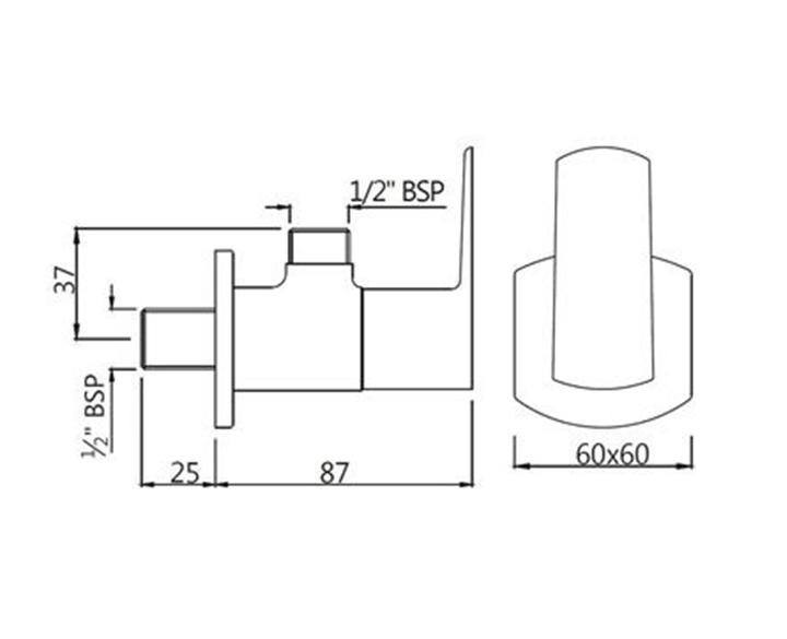 Angular Stop Cock KUP-CHR-35053PM