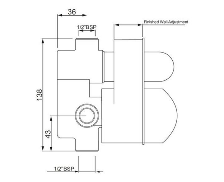 Concealed Body for Single Lever High Flow Diverter ALD-CHR-079
