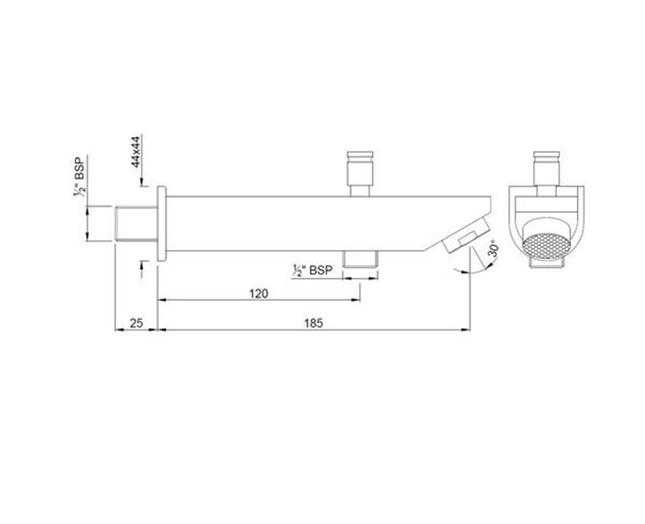 D-Shape Bath Tub Spout SPJ-CHR-37463