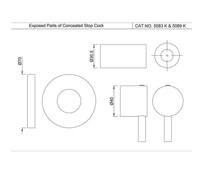 Exposed Part Kit of Concealed Stop Cock FLR-CHR-5083NK