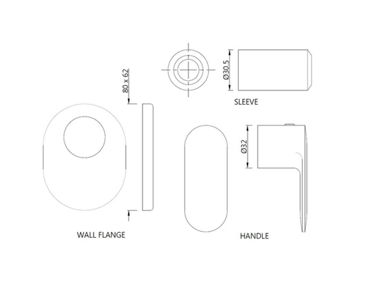 Exposed Part Kit of Concealed Stop Cock with Fitting Sleeve OPP-CHR-15083KPM