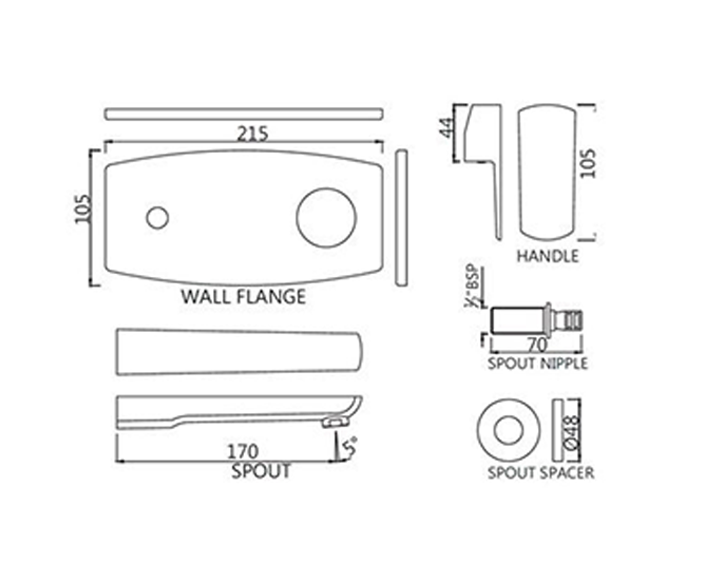 Exposed Part Kit of Single Lever Basin Mixer Wall Mounted KUP-CHR-35233KPM