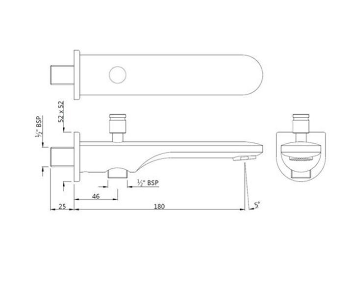 Opal Prime Bathtub Spout SPJ-CHR-15463PM