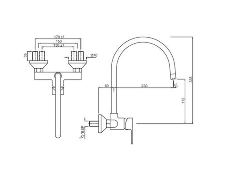 Single Lever Sink Mixer LYR-CHR-38165