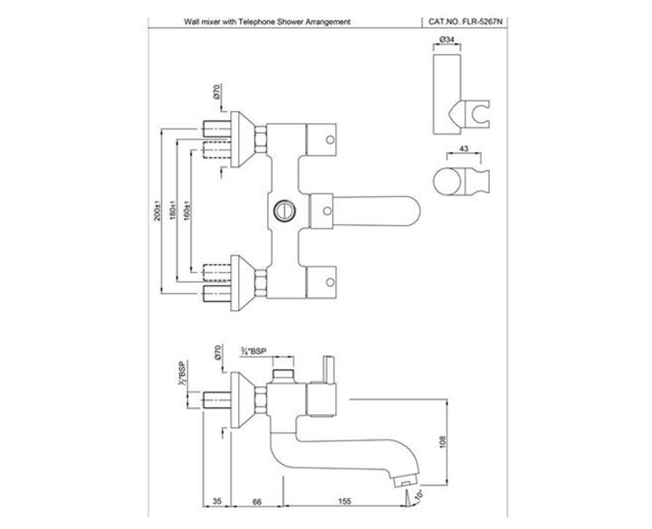 Wall Mixer FLR-CHR-5267N